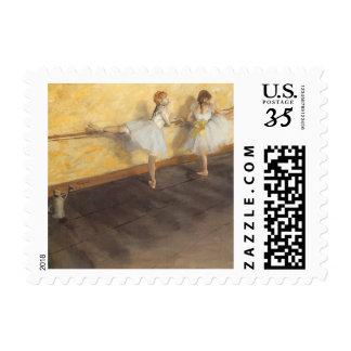 Dancers at the Bar by Edgar Degas, Vintage Ballet Stamps