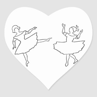 Dancers Cutout Illustration Heart Sticker
