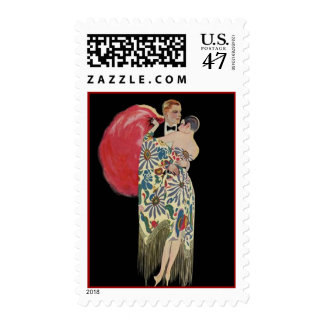 Dancers Fashionable Flapper Short Hair Plume Stamp