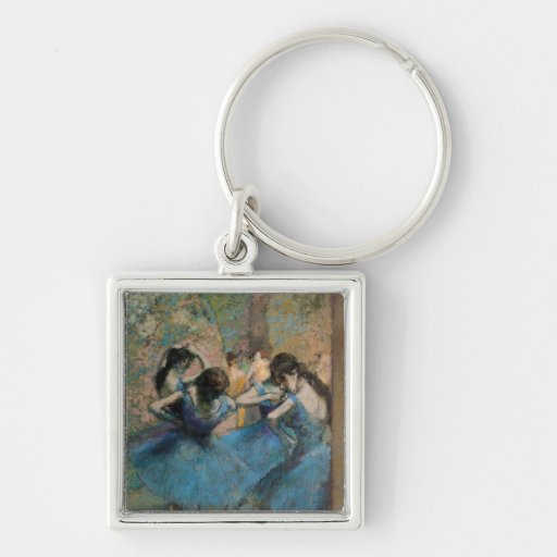 Dancers in blue, 1890 Silver-Colored square keychain