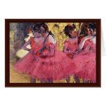 Dancers In Pink In The Wings By Edgar Degas Cards