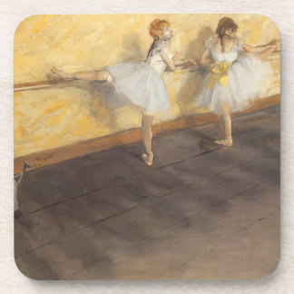 Dancers Practicing at the Barre by Edgar Degas Beverage Coasters