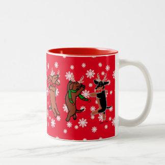 Danching Dachshunds Christmas Mugs