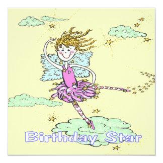 Dancin Miss  Pink Star Birthday 5.25x5.25 Square Paper Invitation Card