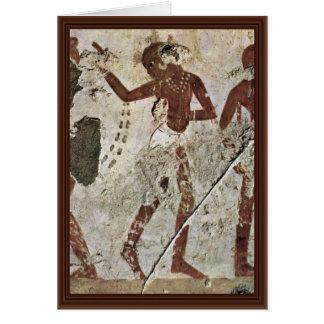 Dancing Africans By Maler Der Grabkammer Des Horem Greeting Card