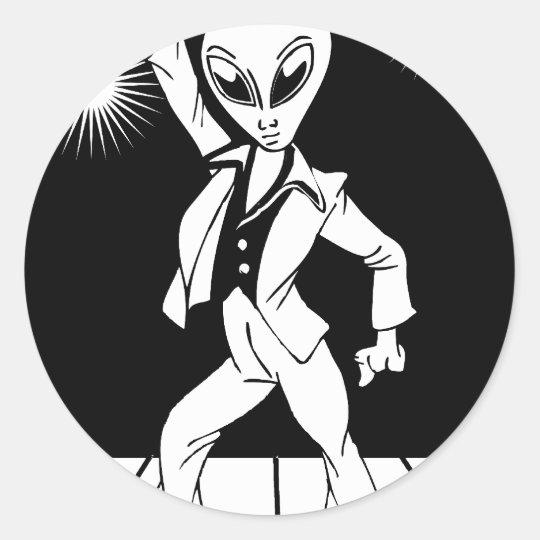 Dancing Alien Classic Round Sticker