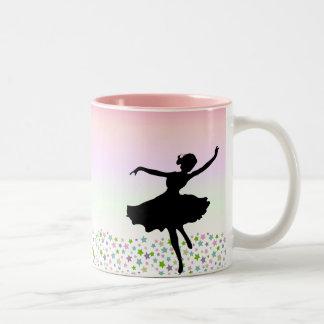 Dancing amongst the stars - pink sunset Two-Tone coffee mug