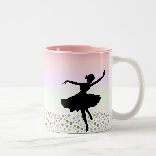 Dancing amongst the stars - pink sunset Two-Tone coffee mug