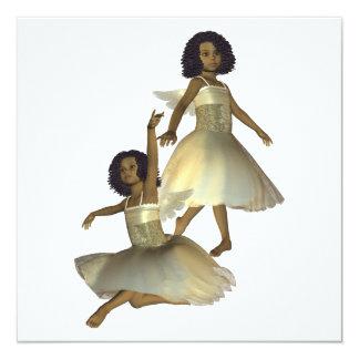 "Dancing Angels Invitations 5.25"" Square Invitation Card"