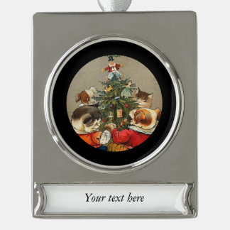 Dancing Around the Christmas Tree Silver Plated Banner Ornament