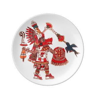 Dancing Aztec shaman warrior Dinner Plate