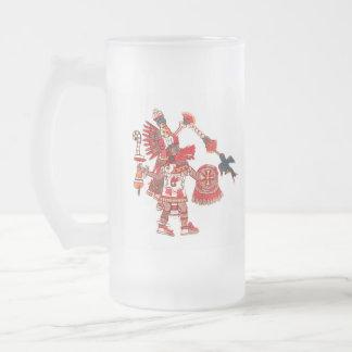 Dancing Aztec shaman warrior Frosted Glass Beer Mug