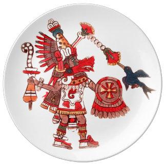 Dancing Aztec shaman warrior Porcelain Plate