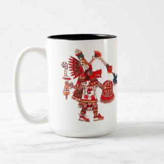Dancing Aztec shaman warrior Two-Tone Coffee Mug