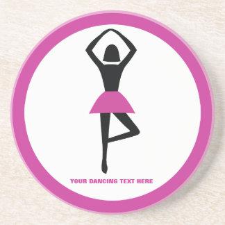Dancing ballerina black, hot pink custom sandstone coaster