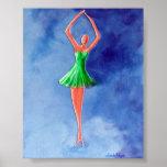 Dancing Ballerina, Green Print