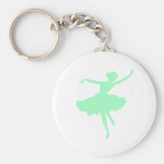 Dancing Ballerina in Pale Blue Basic Round Button Keychain