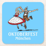 "Dancing Bavarian Oktoberfest Couple Square Paper Coaster<br><div class=""desc"">Quality Paper Coaster with an original german Design. A dancing Oktoberfest Couple in traditional Dirndl and Lederhosen outfit. Illustration by Frank Ramspott,  Munich,  Germany.</div>"