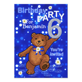 Dancing Bears 6th Birthday Party for Boys Card