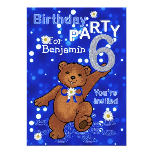Dancing Bears 6th Birthday Party for Boys Custom Announcements