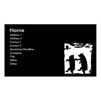 Dancing Bears Black Silhouette Business Card