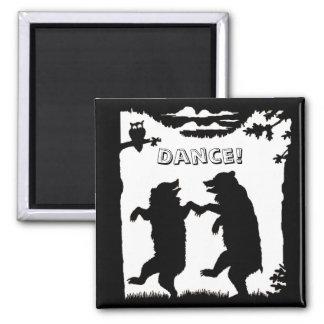 Dancing Bears Black Silhouette Refrigerator Magnet