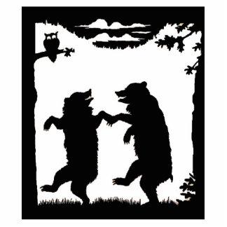 Dancing Bears Black Silhouette Standing Photo Sculpture
