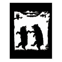 Dancing Bears Black Silhouette Postcard