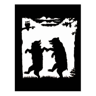 Dancing Bears Black Silhouette Post Cards