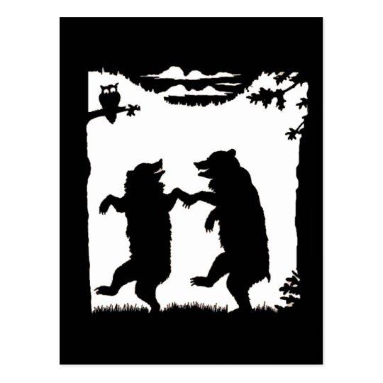 Dancing Bears Black Silhouette Postcard