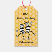 Dancing bee honey gift tag