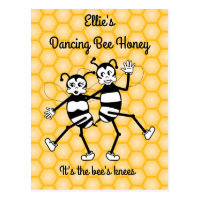 Dancing bee honey promotional postcard