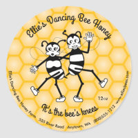 Dancing bee honey round jar label