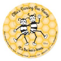 Dancing bee honey round jar label