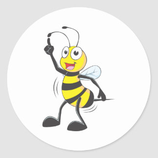 Dancing Bee Round Stickers