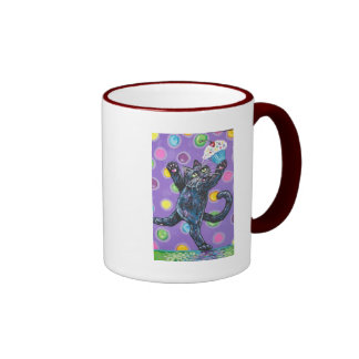 dancing black cupcake cat coffee mugs