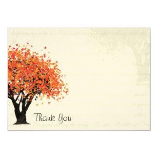 Dancing Blooms Autumn Tree Thank You Flat Card
