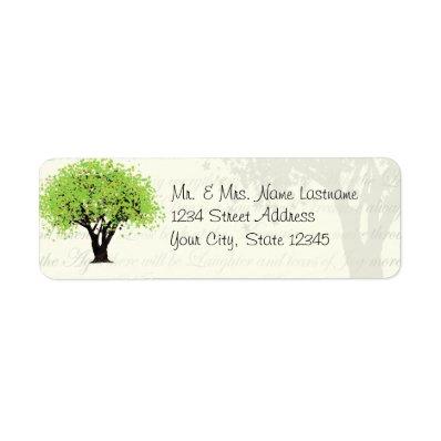 Dancing Blooms Green Tree Address Custom Return Address Label