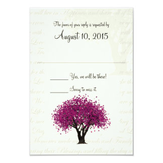 Dancing Blooms Plum Purple Tree and Wedding Text Card