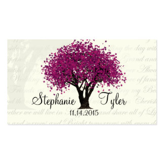Dancing Blooms Plum Purple Tree Seating Cards Double-Sided Standard Business Cards (Pack Of 100)