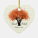 Dancing Blooms Wedding Photo Double-Sided Heart Ceramic Christmas Ornament