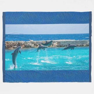Dancing Blue Dolphins Photography Print Fleece Blanket