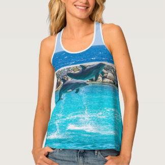 Dancing Blue Dolphins Photography Print Tank Top