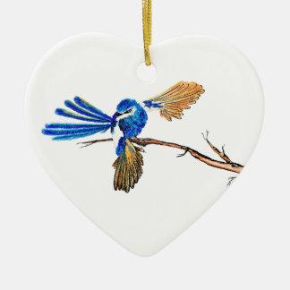 Dancing Blue Fairy Wren Australian Bird Ceramic Ornament