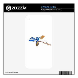 Dancing Blue Fairy Wren Australian Bird Decal For The iPhone 4S