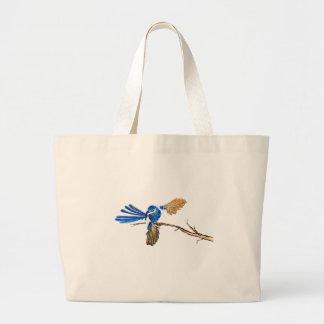 Dancing Blue Fairy Wren Australian Bird Large Tote Bag