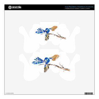 Dancing Blue Fairy Wren Australian Bird PS3 Controller Decal