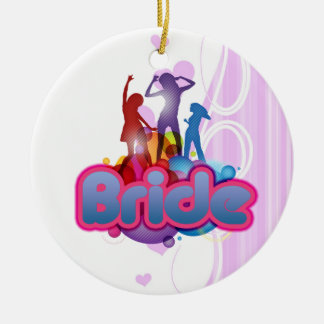 dancing blue pink bride to be future mrs gifts ceramic ornament