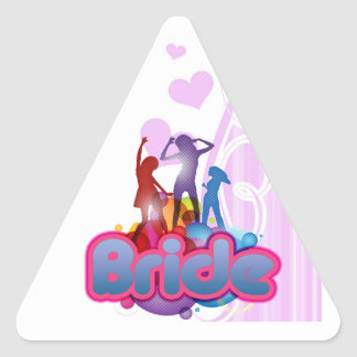 dancing blue pink bride to be future mrs gifts triangle sticker