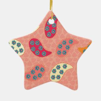 Dancing Boho Paisley Ceramic Ornament